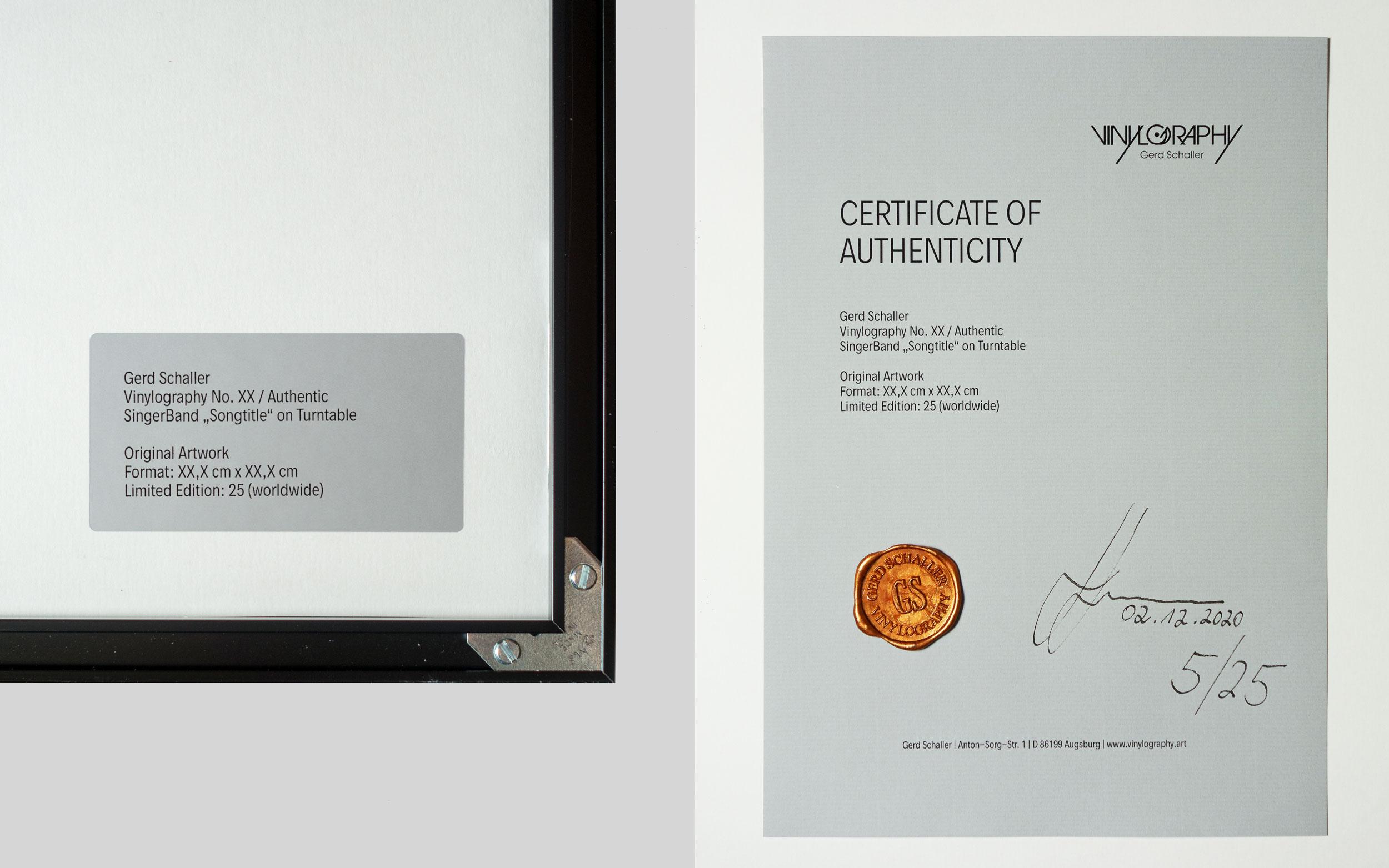 Vinylography Echtheitszertifikat mit Siegel (Muster)